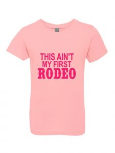 Big Girls Pink Glitter Crewneck This Ain't My First Rodeo Short Sleeve Tee 7-14