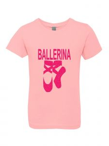 Little Girls Pink Glitter Crewneck Ballerina Shoes Short Sleeve Tee 4-6