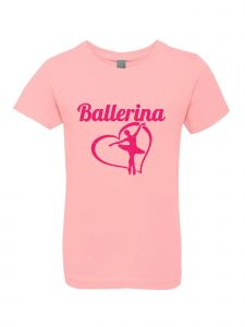 Big Girls Pink Glitter Crewneck Ballerina Short Sleeve Tee 7-14