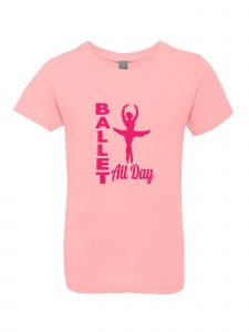 Big Girls Pink Glitter Crewneck Ballet All Day Short Sleeve Tee 7-14