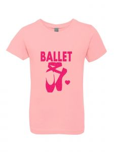 Little Girls Pink Glitter Crewneck Ballet Shoes Short Sleeve Tee 4-6