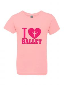 Big Girls Pink Glitter Crewneck I Love Ballet Short Sleeve Tee 7-14