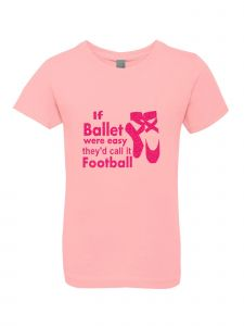 Big Girls Pink Glitter Crewneck If Ballet Were Easy Short Sleeve Tee 7-14