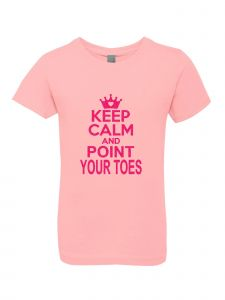 Big Girls Pink Glitter Crewneck Keep Calm And Point Your Toes Tee 7-14