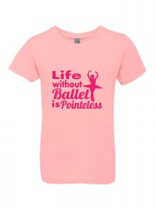 Little Girls Pink Glitter Crewneck Life Without Ballet Is Pointeless Tee 4-6