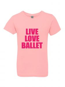 Big Girls Pink Glitter Crewneck Live Love Ballet Short Sleeve Tee 7-14