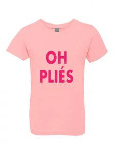 Little Girls Pink Glitter Crewneck Oh Plies Short Sleeve Tee 4-6