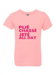 Little Girls Pink Glitter Crewneck Plie Chasse Jete All Day Tee 4-6