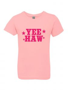 Big Girls Pink Glitter Crewneck Yee Haw Short Sleeve Tee 7-14