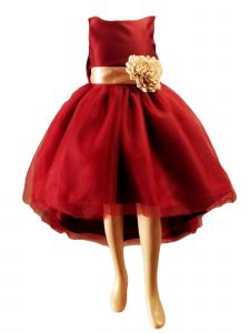 Girls Multi Color High Low Satin Flower Sash Special Occasion Dress 2-12