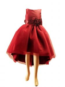 Little Girls Red High Low Satin Flower Special Occasion Dress 2-6