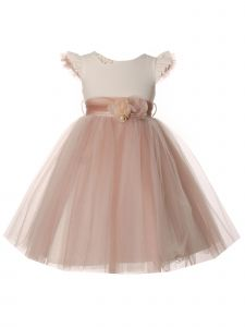 Little Girls Rose Tulle Flower Corsage Ruffled Sleeves Flower Girl Dress 2-6