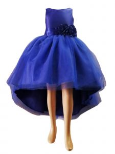 Little Girls Royal Blue High Low Satin Flower Sash Special Occasion Dress 2-6