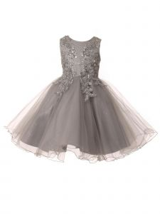 Little Girls Silver Beaded Flower Glitter Tulle Flower Girl Dress 2-6