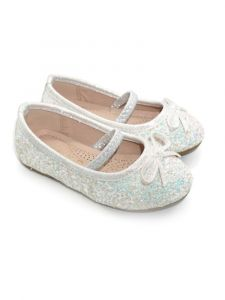 Pipiolo Girls White Sparkling Mary Jane Ballerina Flats 4 Baby-10 Toddler