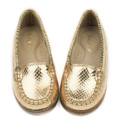 Foxpaws Shoes Toddler Girls Gold Ava Leather Loafers Shoes 9-10 Toddler