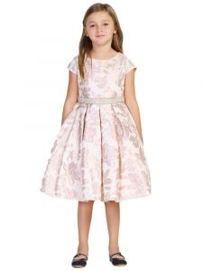 Good Girl Girls Multi Color Floral Jacquard Short Sleeve Easter Dress 2-14