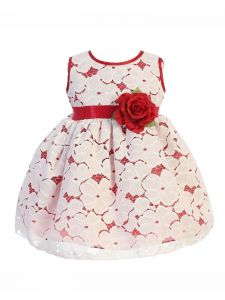Good Girl Baby Girls Red Metal Glitter Bow Party Christmas Dress 6-24M