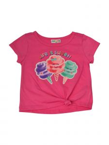 Matchit Toddler Girls Fuchsia Life is Sweet Cotton Candy Print Tie T-Shirt 3T-4T