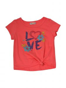 Matchit Toddler Girls Coral Love Graphic Print Tie T-Shirt 3T-4T