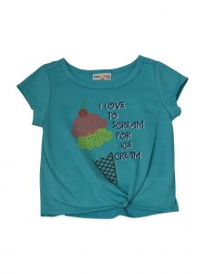Matchit Baby Girls Turquoise Ice Cream Graphic Print Tie T-Shirt 12M-24M