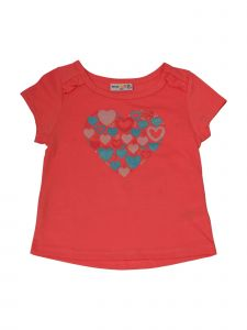 Matchit Toddler Girls Coral Hearts Graphic Print Tie T-Shirt 3T-4T