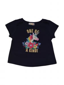 Matchit Toddler Girls Navy Unicorn One of a Kind Print Tie T-Shirt 3T-4T