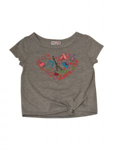 Matchit Toddler Girls Gray Love and Things Graphic Print Tie T-Shirt 3T-4T