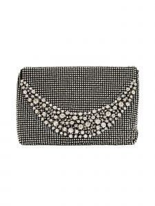 "Girls Black Sparkle Stone Embellished Elegant Clutch Bag 8"" x 5.5"""