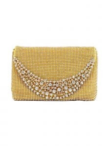 "Girls Gold Sparkle Stone Embellished Elegant Clutch Bag 8"" x 5.5"""
