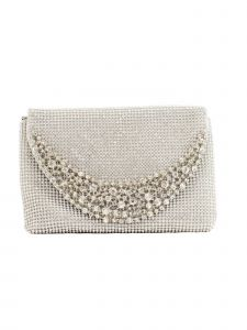 "Girls Silver Sparkle Stone Embellished Elegant Clutch Bag 8"" x 5.5"""