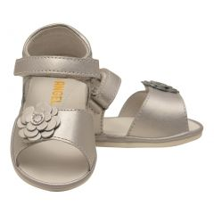 Angel Girls Silver Flower Adorned Leather Open Toe Sandals 1 Baby-7 Toddler