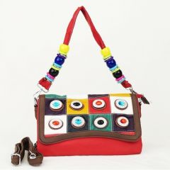 Girls Red Faux Leather Multi Color Stone Embellished Beaded Messenger Bag