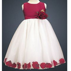 LITO Special Occasion WHITE RED Petal Wedding Flower Girls Dress 2T-12