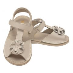 L'Amour Little Girls White Curly Flower Adorned Leather Sandals 5-10 Toddler