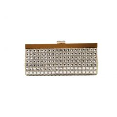 Hearty Trendy Gold Gleaming Design Special Occasion Party Clutch Purse