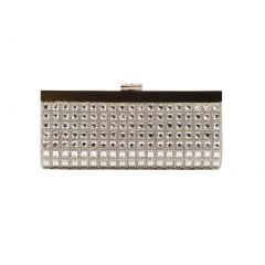 Hearty Trendy Silver Gleaming Design Special Occasion Party Clutch Purse