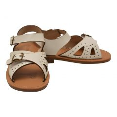 L`Amour Little Girls White Perforated Leather Buckled Sandals 11-2 Kids