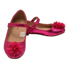L'Amour Girls Fuchsia Glitter Floral Special Occasion Flats 11-4 Kids