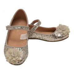 L'Amour Girls Silver Glitter Floral Special Occasion Flats 11-4 Kids