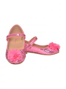 L'Amour Girls Pink Glitter Ankle Strap Special Occasion Flats 11-4 Kids