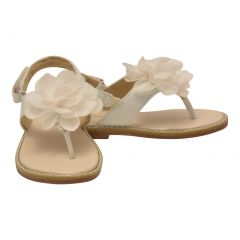 L`Amour Little Girls White Organza Flower Thong Sandals 5-10 Toddler