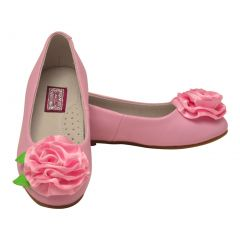 L`Amour Little Girls Pink Special Occasion Rosette Flats 7-10 Toddler