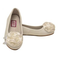 L`Amour Little Girls White Special Occasion Rosette Flats 7-10 Toddler