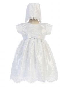 Swea Pea & Lilli Baby Girls White Corded Embroidered Tulle Baptism Dress 0-18M