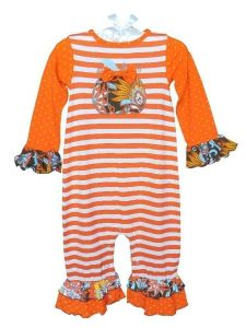 AnnLoren Baby Girls Orange Pumpkin Striped Romper 6- 24 Months
