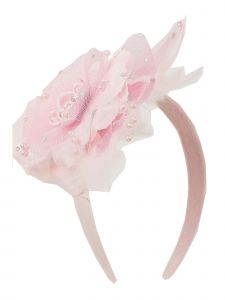 Kids Dream Girls Pink Flower Rhinestone Pearl Feather Satin Headband