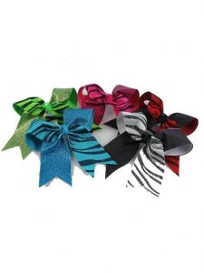 Pizzazz Girls Multi Color Zebra Glitter Twister Ponytail Holder Hair Bow