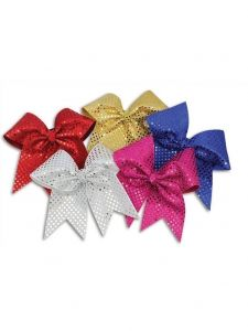 "Pizzazz Girls Multi Color XL Sequin 3"" Ribbon Hair Bow"