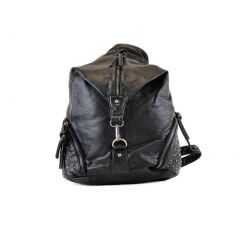 Hearty Trendy Girls Black Asymmetric Design Zipper Faux Leather Backpack